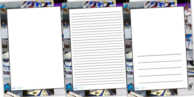 Winter Olympics Photo Page Borders - winter olympics, winter, photo page borders, page borders, borders, writing frames, writing templates, line guides
