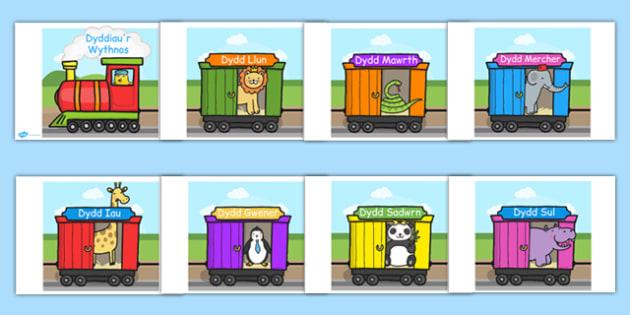 Days of The Week on an A4 Train Cymraeg - welsh, cymraeg, days, week, train, a4, display