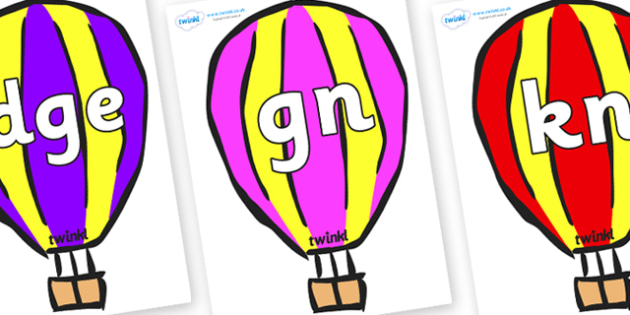 Silent Letters on Hot Air Balloons (Multicolour) - Silent Letters, silent letter, letter blend, consonant, consonants, digraph, trigraph, A-Z letters, literacy, alphabet, letters, alternative sounds