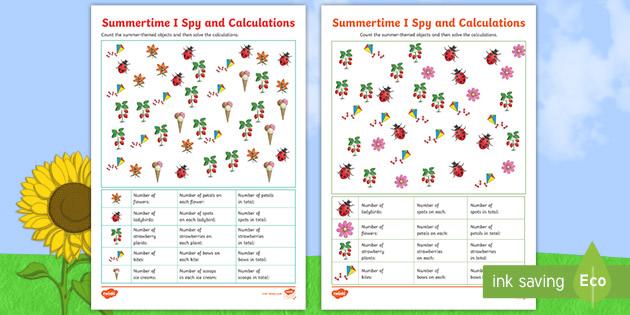 ks2 summer themed multiplication i spy and calculate worksheets. Black Bedroom Furniture Sets. Home Design Ideas