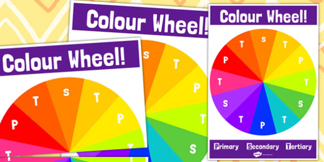 Tertiary Colour Wheel Poster with Labels - Tertiary, Colour