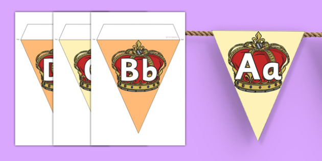 Crown Alphabet Display Bunting - crown, alphabet, display bunting, display, bunting