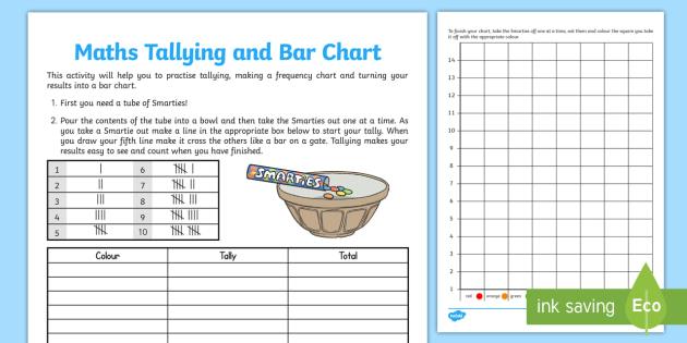 Smartie Maths Tallying and Bar Chart Activity Sheet - activity, worksheet
