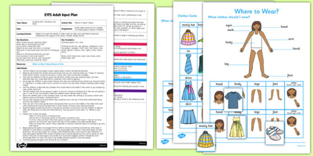Where to Wear? Game EYFS Adult Input Plan and Resource Pack - where to wear