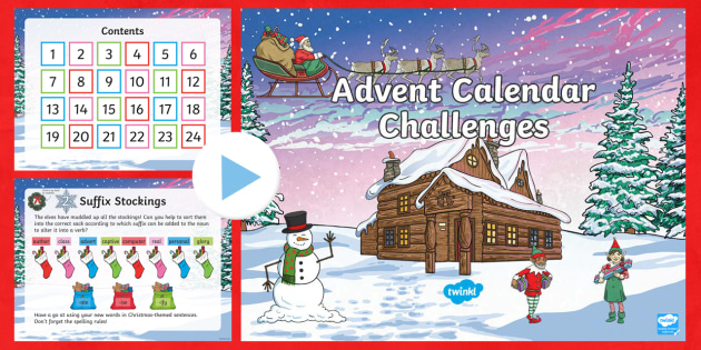 uks2 advent calendar english challenges powerpoint spag. Black Bedroom Furniture Sets. Home Design Ideas