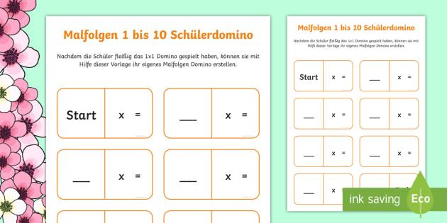 Malfolgen 1 bis 10 Schüler Domino Karten - maths