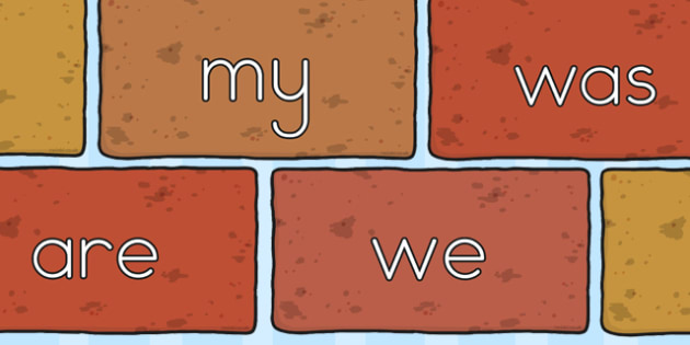 Phase 3 Tricky Words On Bricks - display, displays, phases, three