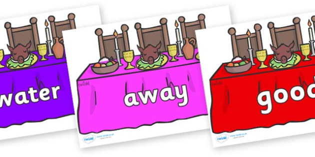 Next 200 Common Words on Dining Tables (Multicolour) - Next 200 Common Words on  - DfES Letters and Sounds, Letters and Sounds, Letters and sounds words, Common words, 200 common words