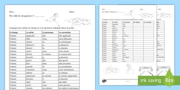 Defi De Conjugaison Les Verbes En Ir Teacher Made