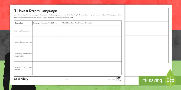 Martin Luther King Jr S I Have A Dream Speech Language Worksheet