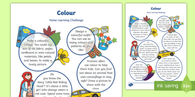 Colour Home Learning Challenge Sheet Reception FS2