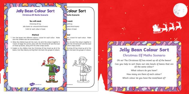 Jelly Bean Colour Sort Christmas Elf Maths Scenario
