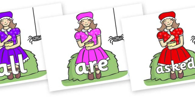 Tricky Words on Little Miss Muffet - Tricky words, DfES Letters and Sounds, Letters and sounds, display, words