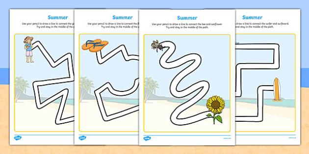 Summer Pencil Control Path Worksheets - season, fine motor skills