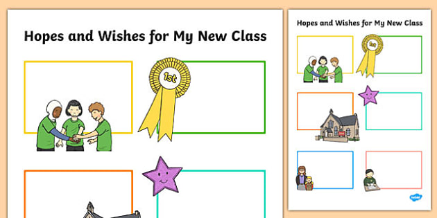 Hopes and Wishes for My New Class Primary SEN Worksheet / Activity Sheet, worksheet