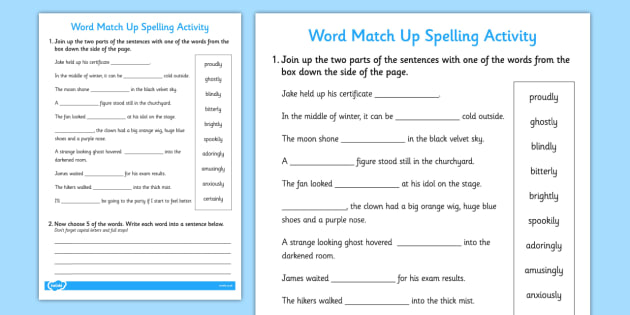 Words Ending in 'ly' Sentence Match Up Activity - ESL Adverbs Exercises