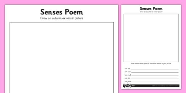 Seasonal Senses Poem Activity Sheet - seasons sense poem, activity, sheet, science, seasons, senses, poem, poetry, worksheet