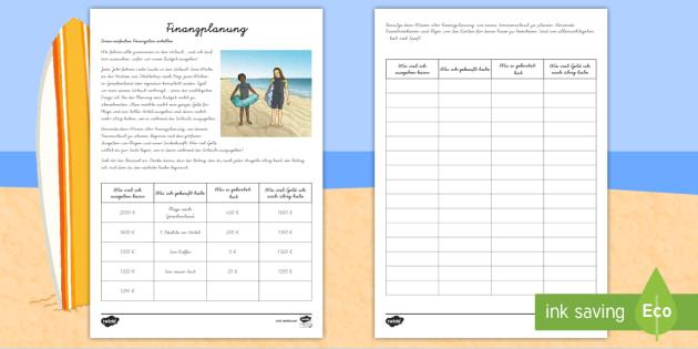 Finanzplanung für einen Sommerurlaub Arbeitsblatt