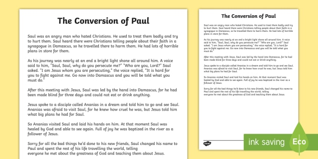 The Conversion of Paul Story Print Out - Saul, Conversion ...