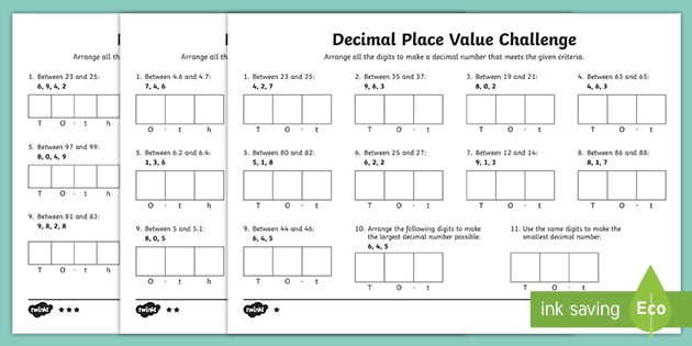 decimal place value challenge differentiated worksheet. Black Bedroom Furniture Sets. Home Design Ideas