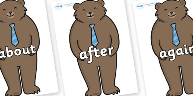 KS1 Keywords on Daddy Bear - KS1, CLL, Communication language and literacy, Display, Key words, high frequency words, foundation stage literacy, DfES Letters and Sounds, Letters and Sounds, spelling