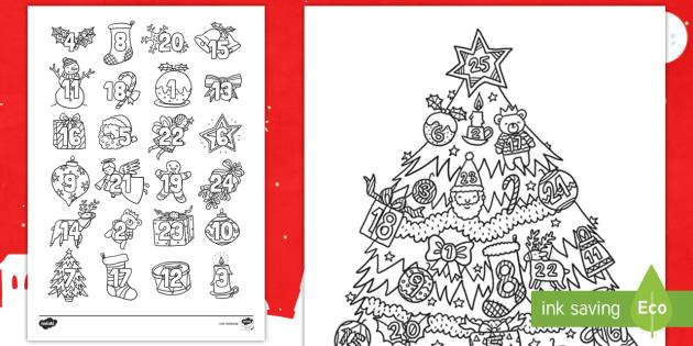 Adventskalender Ausmalbilder - Weihnachten, Advent