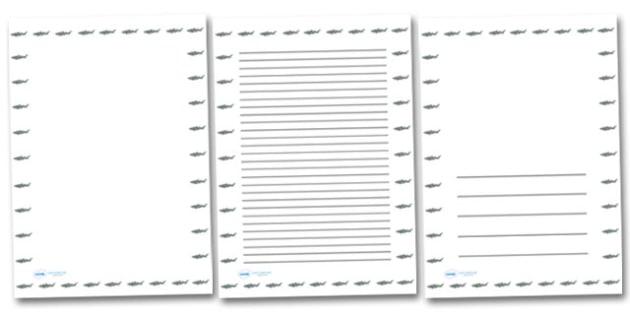 Shark Portrait Page Borders (Under the Sea) - Portrait Page Borders - Page border, border, writing template, writing aid, writing frame, a4 border, template, templates, landscape