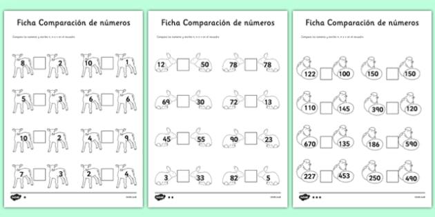 Ficha de comparación de números de atención a la diversidad - primavera, mayor que, menor que, igual, comparación de números