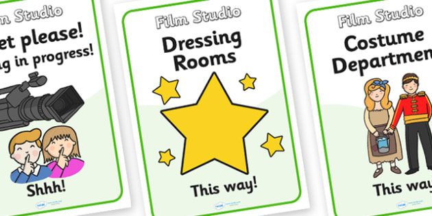 Film Studio Role Play Signs - film studio, role play, signs, film studio signs, role play signs, film studio role play, sign for film studio, movie studio