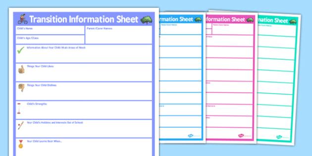 SEN Parent Transition Information Sheet Secondary - transition