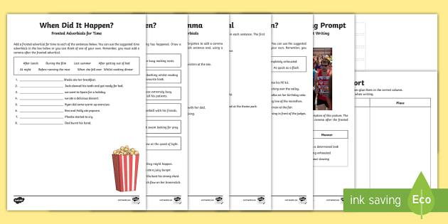 Fronted Adverbials Worksheet / Worksheets - Homework SPaG Worksheet /
