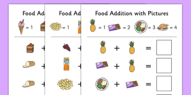 Food Themed Addition with Pictures Activity Sheet Pack - food, themed, addition, pictures, activity, sheets, worksheet