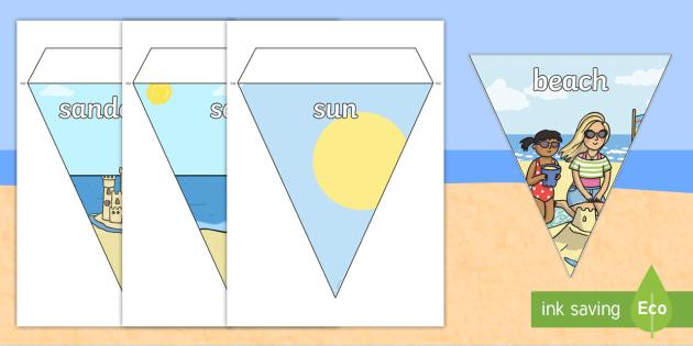 Seaside Bunting - seaside, at the seaside, at the beach, seaside bunting, seaside display bunting, seaside images bunting, seaside key words bunting