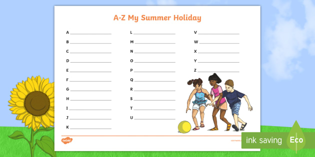 new ks2 a z my summer holiday activity sheet holidays going away. Black Bedroom Furniture Sets. Home Design Ideas