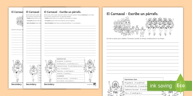 Carnival differentiated structured writing worksheet activity carnival differentiated structured writing worksheet activity sheet spanish celebrations conditional party ibookread Download