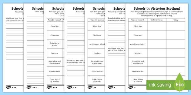 Schools in Victorian Scotland Comparison Differentiated Worksheet /