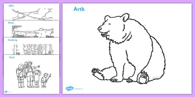 Bear Hunt Colouring Sheets (Welsh) - bear hunt, colouring, sheets,cymru