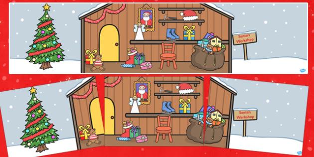 Small World Background (Santas Workshop) - Small World, backdrop, background, scenery, small world area, small world display, small world resources, Santas Workshop, Santa, elves, workshop , grotto