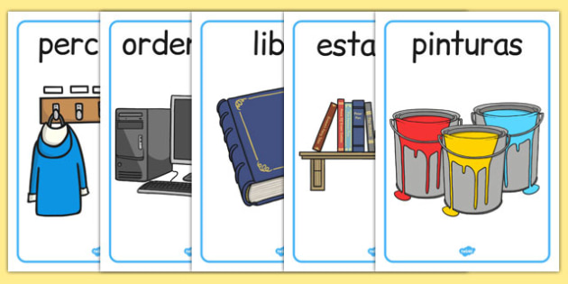 Objetos de la clase Display Posters Spanish - spanish, classroom, objects, display, poster