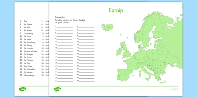 Irish Map of Europe Activity Sheet Gaeilge - Irish , Europe ,Geography, worksheet