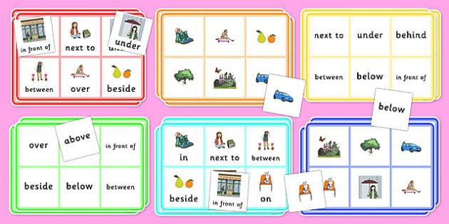 Positional Language Mapping Bingo - positional language, positional, language, mapping, bingo, game, activity