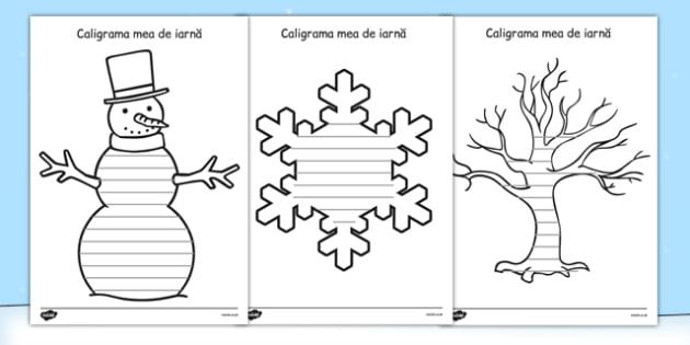 Caligrama mea de iarnă - Spațiu pentru scriere - caligrama, forma, de scris, cadru de scriere, iarna, limba română, poem, poezie, materiale, materiale didactice, română, romana, material, material didactic