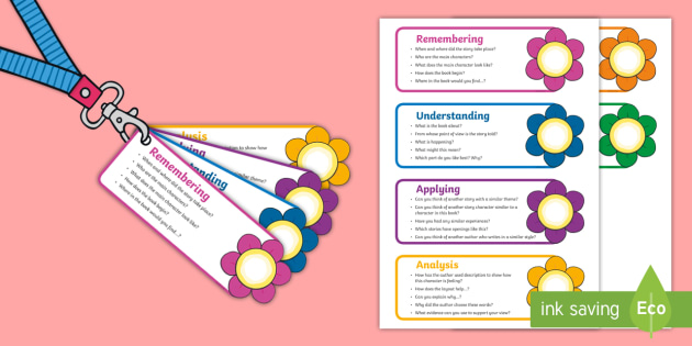 Bloom's Taxonomy Questions for Reading Prompt Cards - comprehension, assessment, guided reading, questions, lanyard, prompts, genre, character,