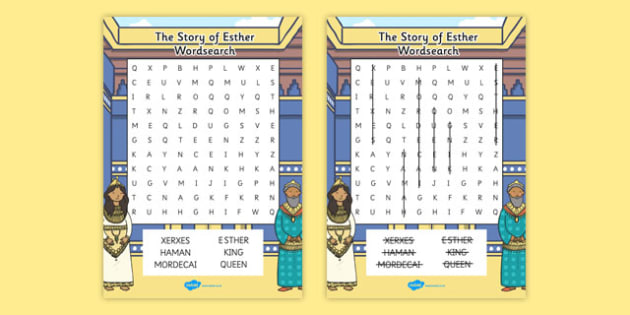 The Story of Esther Bible Story Differentiated Wordsearch - words