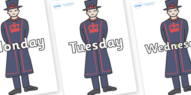 Days of the Week on Beefeaters - Days of the Week, Weeks poster, week, display, poster, frieze, Days, Day, Monday, Tuesday, Wednesday, Thursday, Friday, Saturday, Sunday