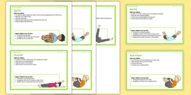 Foundation PE (Reception) - Types of Rolls Teacher Support Cards - EYFS, PE, Physical Development, Planning