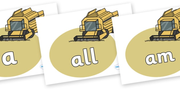 Foundation Stage 2 Keywords on Combine Harvesters - FS2, CLL, keywords, Communication language and literacy,  Display, Key words, high frequency words, foundation stage literacy, DfES Letters and Sounds, Letters and Sounds, spelling