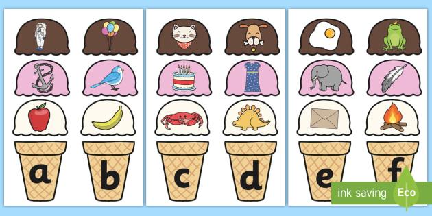 Ice Cream Alphabet Matching Activity - alphabet, matching, alphabet matching, matching activity, matching games, matching, sorting, sorting games, games