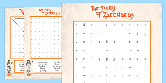 Zacchaeus the Tax Collector Bible Story Differentiated Word Search - usa, america, zacchaeus, tax collector, bible stories, word search