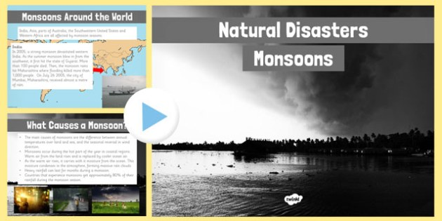 Natural Disasters Monsoons Information PowerPoint - disaster